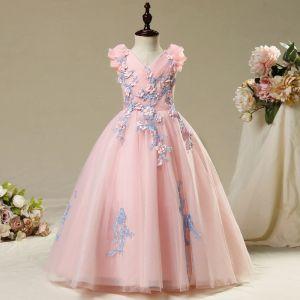 Schöne Kirche Kleider Für Hochzeit 2017 Mädchenkleider Pink Ballkleid Lange Rundhalsausschnitt Ärmellos Blumen Applikationen Perle