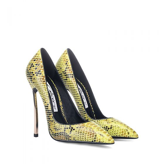Fashion Gold Cocktail Party Snakeskin Print Pumps 2020 12 cm Stiletto Heels Pointed Toe Pumps