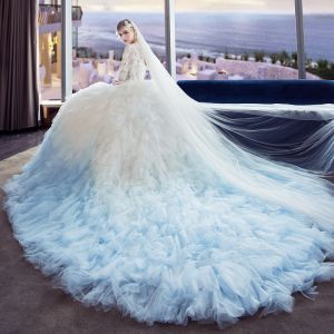 Amazing / Unique White Gradient-Color Sky Blue Pierced Wedding Dresses 2018 Ball Gown Scoop Neck 1/2 Sleeves Backless Appliques Lace Sequins Pleated Cathedral Train