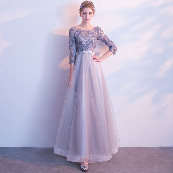 Chic / Beautiful Grey Prom Dresses 2017 A-Line / Princess Scoop Neck 3/4 Sleeve Appliques Flower Bow Sash Floor-Length / Long Backless Formal Dresses