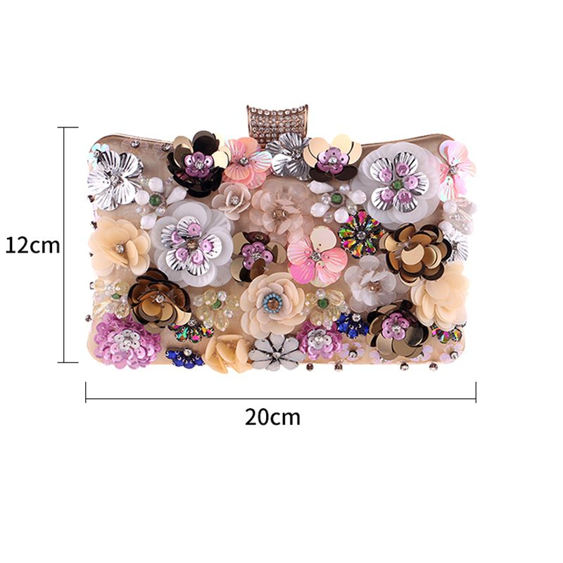 Flower Fairy Gold Clutch Bags Beading Rhinestone Sequins Flower Accessories 2019