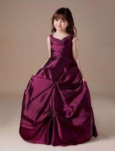 V-ausschnitt Taft-ballkleid-blumenmädchenkleid Kommunionkleider