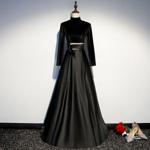 Vintage / Retro Black Evening Dresses  2019 A-Line / Princess High Neck Suede Bow Long Sleeve Backless Floor-Length / Long Formal Dresses