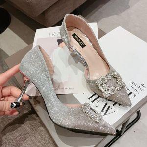 Scintillantes Argenté Chaussure De Mariée 2018 Mariage Faux Diamant Paillettes 8 cm Talons Aiguilles À Bout Pointu Escarpins