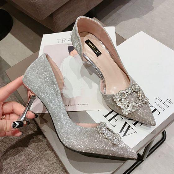 ff5294d97a15f1 Scintillantes Argenté Chaussure De Mariée 2018 Mariage Faux Diamant  Paillettes 8 cm Talons Aiguilles À Bout Pointu Escarpins