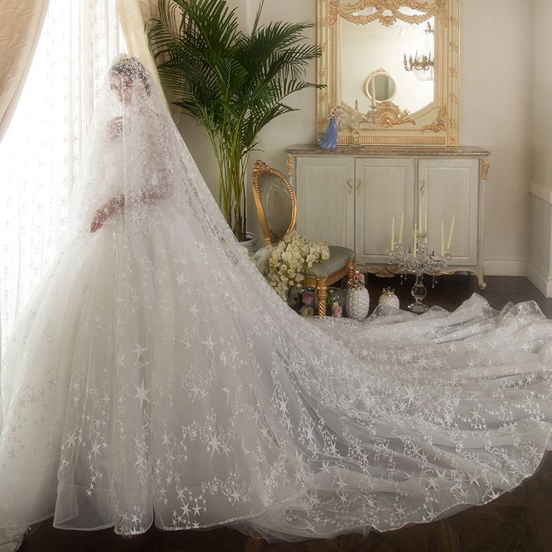 Classy Ivory See-through Wedding Dresses 2019 Ball Gown Scoop Neck 3/4 Sleeve Backless Star Appliques Lace Beading Cathedral Train Ruffle