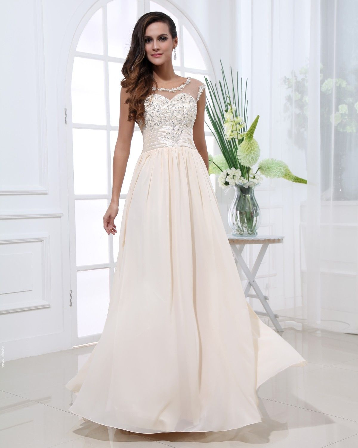 Chiffon Gauze Beading Scoop Sleeveless Zipper Floor Length Pleated Evening Dress