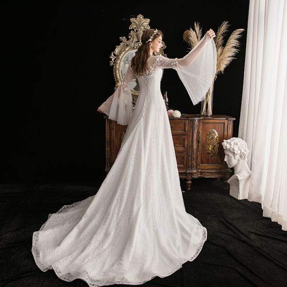 Elegant Ivory See-through Outdoor / Garden Wedding Dresses 2019 A-Line / Princess Scoop Neck Bell sleeves Glitter Tulle Appliques Flower Beading Court Train Ruffle