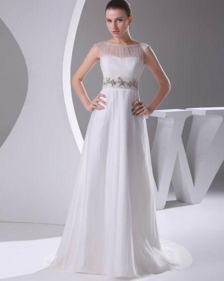Elegant Satin Tulle Pleated Rhinestones Bateau Floor Length Wedding Dress