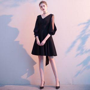 Hermoso Negro de fiesta Vestidos de graduación 2020 A-Line / Princess V-Cuello 3/4 Ærmer Sin Espalda Bowknot Cortos Vestidos Formales