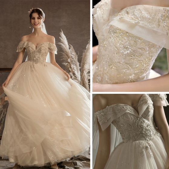 Luxury / Gorgeous Champagne Bridal Wedding Dresses 2020 Ball Gown Off-The-Shoulder Short Sleeve Backless Beading Sequins Glitter Tulle Floor-Length / Long Ruffle