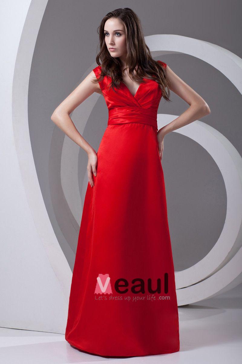 V Neck Pleated Bowknot Floor Length Satin Woman Bridesmaid Dress