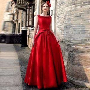 Vintage Rot Maxikleider 2019 A Linie Rundhalsausschnitt Ärmellos Schleife Rückenfreies Lange Damenbekleidung