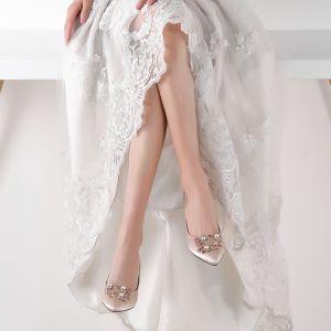 Mode Champagner Brautschuhe 2019 6 cm Spitzschuh Polyester Perlenstickerei Strass Hochzeit Hochhackige