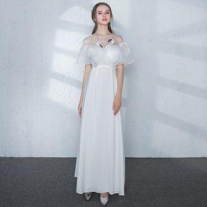 Chic / Belle Blanche Robe De Soirée 2017 Princesse Dentelle U-Cou Dos Nu Percé Faux Diamant de retour Soirée Robe De Ceremonie