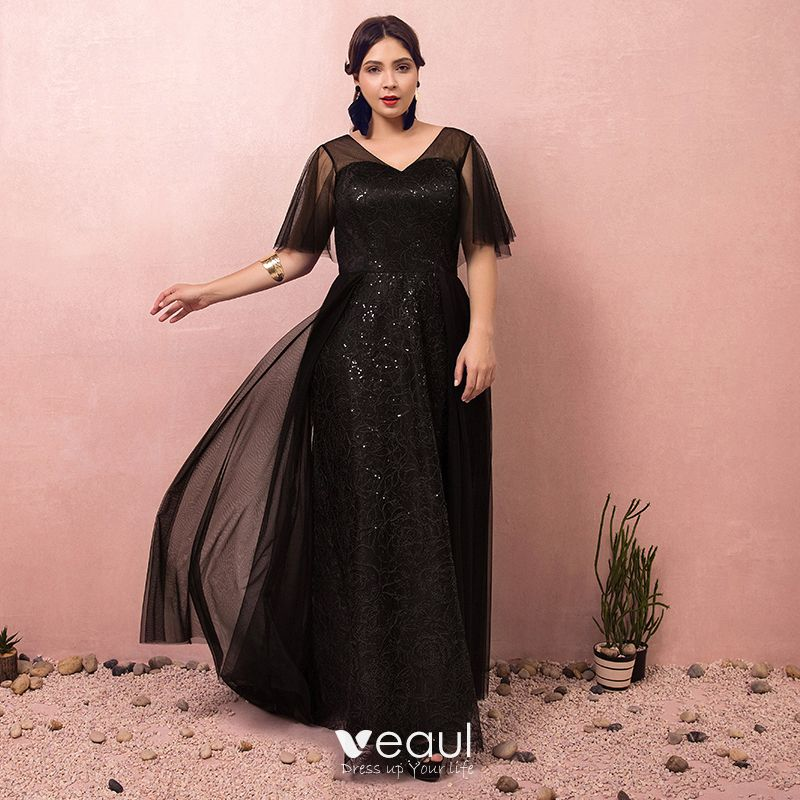 Sparkly Bling Bling Black Plus Size Prom Dresses 2018 A-Line / Princess  V-Neck Tulle Appliques Backless Beading Sequins Prom Evening Dresses