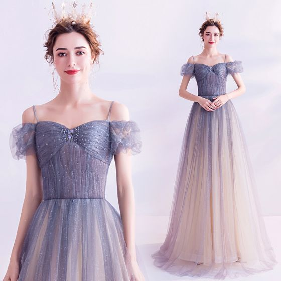 Charming Sky Blue Gradient-Color Prom Dresses 2020 A-Line / Princess Spaghetti Straps Rhinestone Glitter Tulle Short Sleeve Backless Floor-Length / Long Formal Dresses