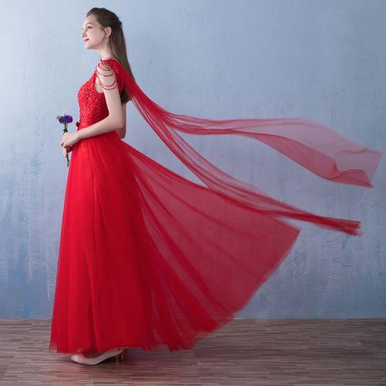 Erschwinglich Rot Ballkleider 2019 A Linie Perlenstickerei Schleife V-Ausschnitt Ärmellos Rückenfreies Lange Festliche Kleider
