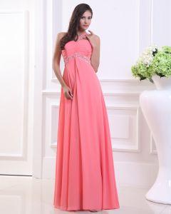 Fashion Chiffon Pleated Beaded One Shoulder Floor Length Evening Dress