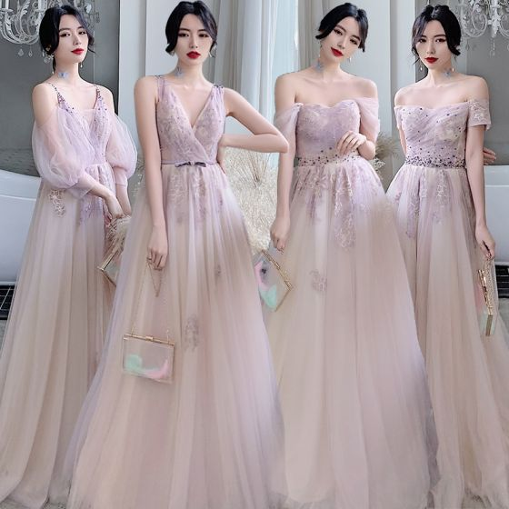 Affordable Blushing Pink Bridesmaid Dresses 2020 A-Line / Princess Backless Appliques Lace Beading Sweep Train Ruffle