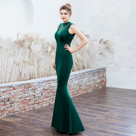 Chic / Beautiful Dark Green Evening Dresses  2019 Trumpet / Mermaid High Neck Beading Sleeveless Backless Floor-Length / Long Formal Dresses