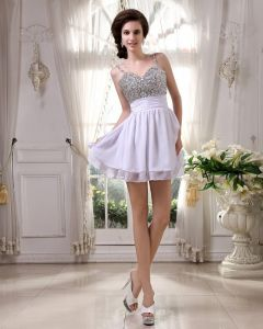 Sleeveless Chiffon Beading Spaghetti Straps Short Cocktail Dress