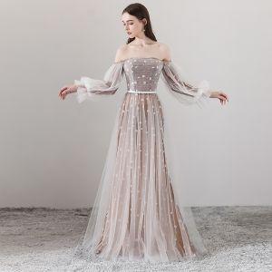 Elegant Brown Evening Dresses  2018 A-Line / Princess Off-The-Shoulder Long Sleeve Appliques Flower Sash Floor-Length / Long Ruffle Backless Formal Dresses