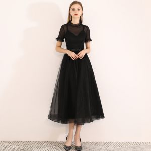 Chic / Beautiful Black Homecoming Graduation Dresses 2019 A-Line / Princess Scoop Neck Short Sleeve Bow Tea-length Formal Dresses