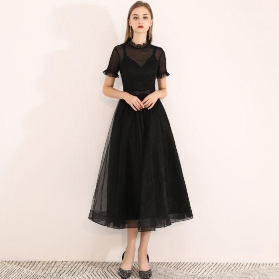 Chic / Beautiful Black Homecoming Graduation Dresses 2019 A-Line / Princess Scoop Neck Short Sleeve Bow Tea-length Formal Dresses
