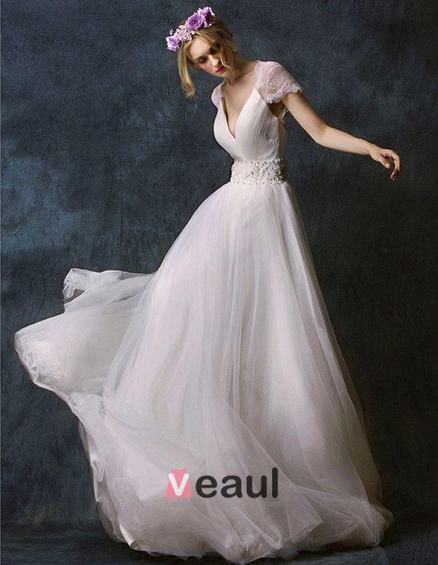2015 A-line Shoulders Deep V-neck Embroidered Flower Sash Floor-length Lace Wedding Dress