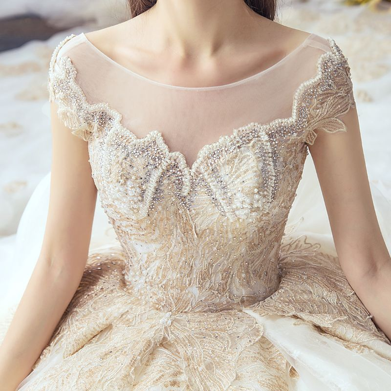 Luxury / Gorgeous Champagne Wedding Dresses 2019 A-Line / Princess Scoop Neck Handmade  Beading Pearl Sequins Rhinestone Lace Flower Short Sleeve Backless Cathedral Train