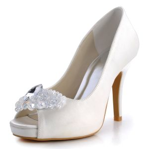 Handmade Fashion Fish Head High-heeled Satin Wedding Shoes Jane Slipper