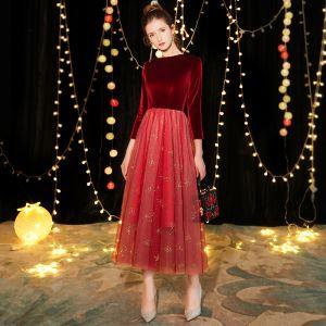 Hermoso Borgoña Suede de fiesta Vestidos de graduación 2019 A-Line / Princess Escote Cuadrado 3/4 Ærmer Glitter Tul Té De Longitud Ruffle Vestidos Formales