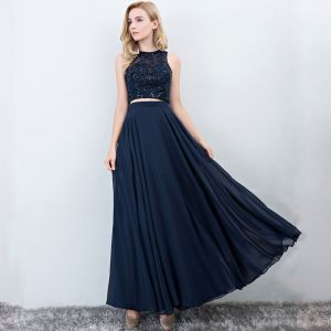 2 Piece Navy Blue Prom Dresses 2017 A-Line / Princess Scoop Neck Sleeveless Floor-Length / Long Ruffle Chiffon Formal Dresses