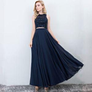 2 Piece Navy Blue Prom Dresses 2017 A-Line / Princess Scoop Neck Sleeveless Floor-Length / Long Ruffle Chiffon Formal Dresses
