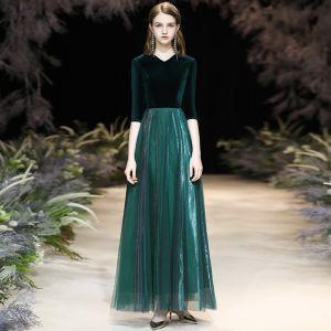 Abordable Vert Foncé Daim Hiver Robe De Soirée 2020 Princesse V-Cou 1/2 Manches Longue Volants Robe De Ceremonie