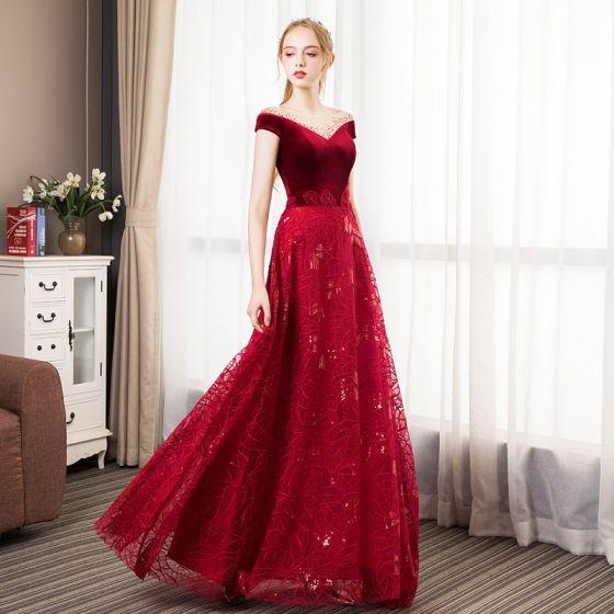 d45c77cc6872 Classy Burgundy Suede Evening Dresses 2019 A-Line / Princess See-through  Square Neckline Rhinestone Short Sleeve Leaf Appliques Lace ...