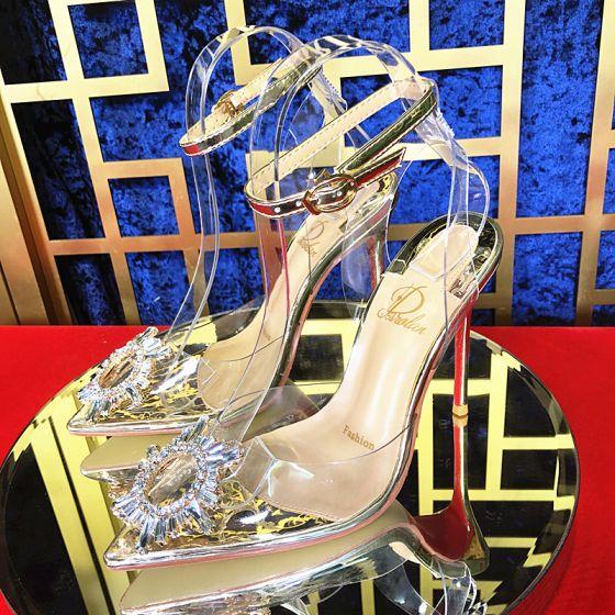 Sexy Gull Aften Sandaler Dame 2020 Ankelstropp Rhinestone 10 cm Stiletthæler Spisse Sandaler
