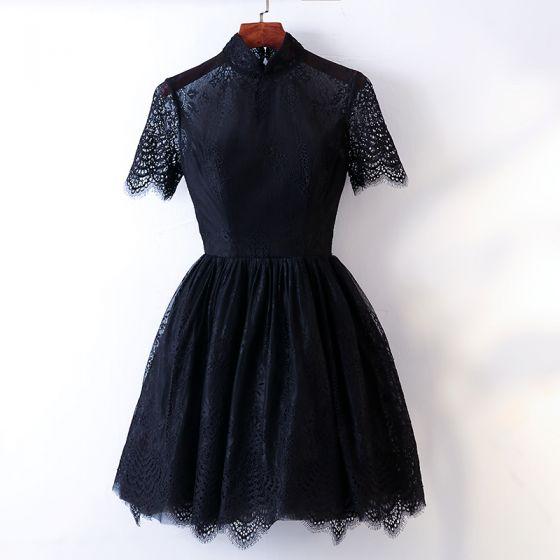 Chic / Beautiful Black Homecoming Graduation Dresses 2017 A-Line / Princess High Neck Short Sleeve Short Formal Dresses