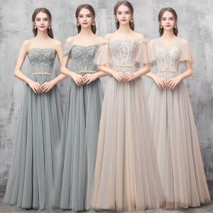 Elegant Champagne Green Bridesmaid Dresses 2019 A-Line / Princess Beading Floor-Length / Long Ruffle Backless Wedding Party Dresses