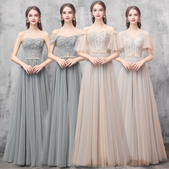 Elegant Champagne Green Bridesmaid Dresses 2019 A-Line / Princess Beading Floor-Length / Long Ruffle Backless Wedding Party Dresses