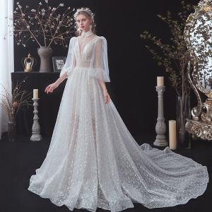 Vintage / Retro White Summer Bridal Wedding Dresses 2020 A-Line / Princess See-through Deep V-Neck Puffy 3/4 Sleeve Backless Beading Glitter Spotted Tulle Sash Court Train Ruffle