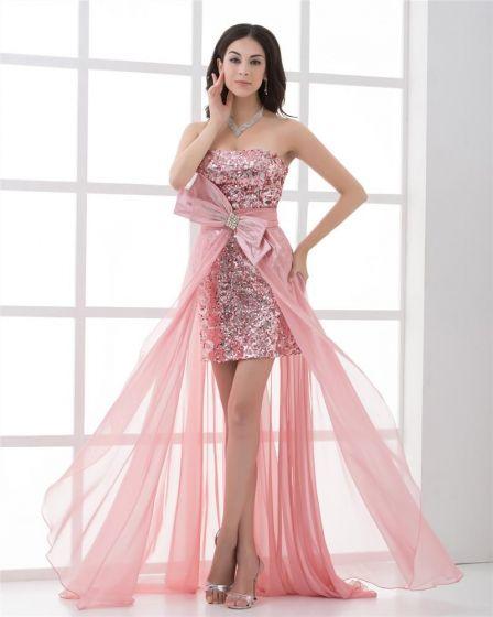 Vestido De Cóctel De Alto-bajo Del Baile Sin Tirantes Del Paillette Longitud Asimétrica De La Gasa Del Bowknot