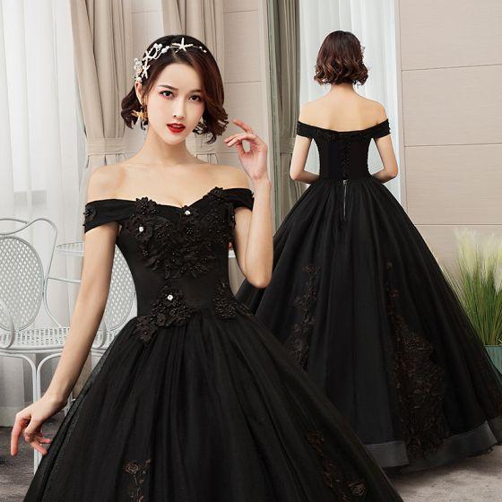 Elegantes Negro Quinceañera Vestidos de gala 2019 A-Line / Princess Fuera Del Hombro Perla Con Encaje Flor Manga Corta Sin Espalda Largos Vestidos Formales