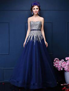 7ec2acfc7 Brillar Una Línea De Lentejuelas Rebordear Cariño Sash Vestido De Gala Azul  Organza Real
