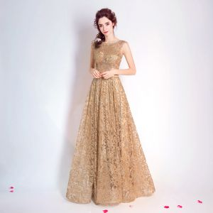 Chic / Beautiful Gold Evening Dresses  2017 A-Line / Princess U-Neck Tulle Appliques Backless Glitter Sequins Evening Party Formal Dresses