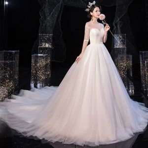 Elegant Ivory See-through Bridal Wedding Dresses 2020 Ball Gown Scoop Neck 1/2 Sleeves Backless Beading Glitter Tulle Chapel Train Ruffle