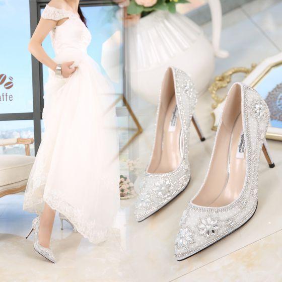 Hermoso 2017 9 cm Plata Casual PU Apliques High Heels Stilettos / Tacones De Aguja Tacones Zapatos de novia
