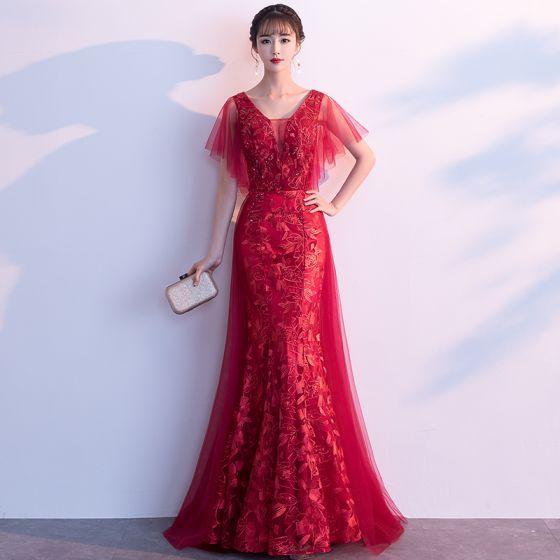 Chic / Belle Bordeaux Robe De Soirée 2019 Princesse V-Cou Cristal En Dentelle Fleur Manches Courtes Dos Nu Longue Robe De Ceremonie