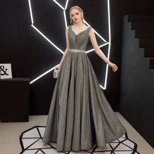 Charming Silver Evening Dresses  2019 A-Line / Princess Sleeveless Glitter Polyester Pearl Rhinestone Sash V-Neck Backless Floor-Length / Long Formal Dresses